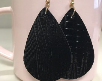 Black Pleather Small Teardrop Earrings