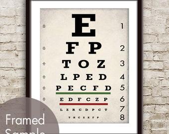 Vintage Eye Chart - Art Print (Featured in White Stone Grey) Optometrist Chart