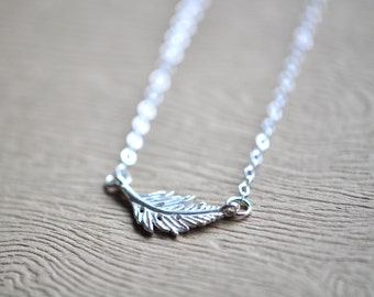 Silver Leaf Necklace - Leaf Pendant - Nature Jewelry - Sterling Silver Leaf Necklace - Everyday Jewelry - Gift For Women - Nature Jewelry