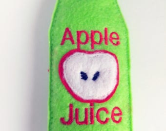 Felt play food - pretend food - play kitchen food - Felt bottle of apple juice - fake food - great for kids play kitchen #PF2503