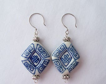 Blue and white stone and silver metal earrings - stone jewelry - stone tablet earrings - blue/white earrings - boho summer earrings