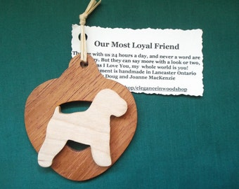 Wheaton Terrier Dog Ornament personalized with your dog's name