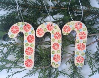 Christmas Ornaments, Handmade Ceramic Candy Canes, Set of 3