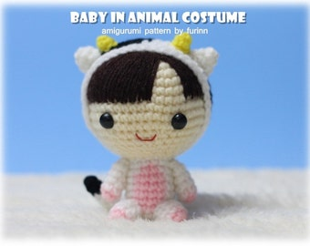 INSTANT DOWNLOAD Amigurumi Pattern Baby in Ox Costume/ Chinese Zodiac Ox