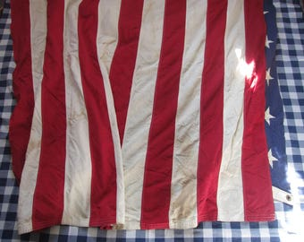 """Giant 100% Cotton American Flag, Canvas, 116"""" x 58"""" / Valley Forge Best, Made in USA, Stained, Soiled, Distressed / Bunting"""