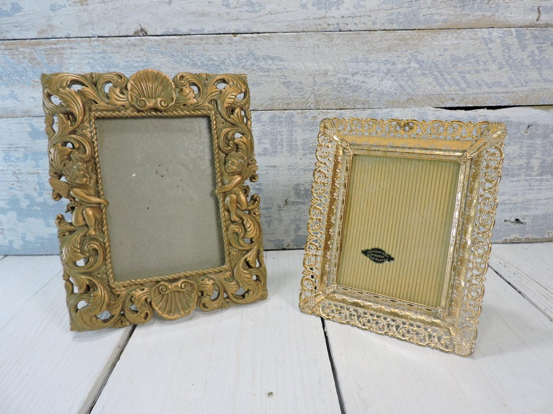 Frames: Vintage Gold Metal Rectangular Frame & Gold Frame with Pair ...