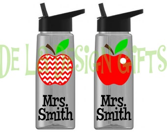 Personalized apple teacher drinkware, with name and polka dots, you choose colors, Available in sport bottle, skinny, kiddie & XL Tumbler