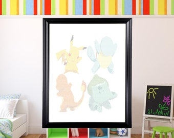 Pokemon Art in Text Wall Art | Pikachu | Charmander | Squirtle | Bulbasaur | Kanto Starters |