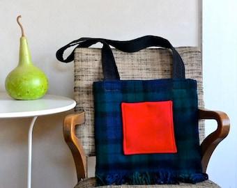 Fringed Shoulder Bag Wool Black Watch Plaid Purse w/ Red Pocket