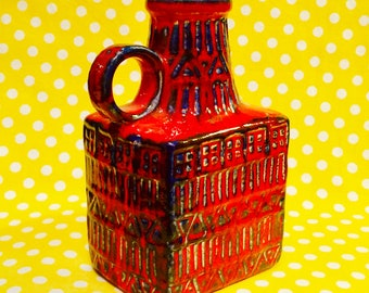 Bay Keramik Red and Blue Vase   - designed by Bodo Mans  - made in West Germany circa 1960s