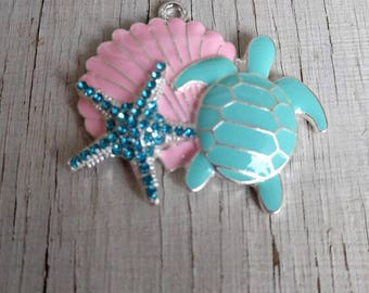 Seashell starfish and turtle pink and turquoise rhinestone pendant for necklace bubblegum necklace girls jewelry chunky gumball necklace