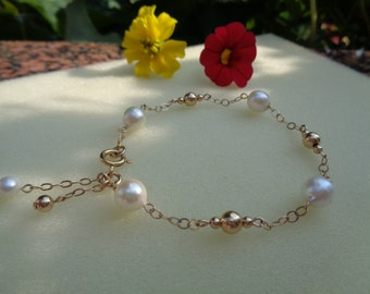 Gold Bracelet with Akoya pearls, 585 gold filled