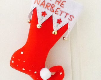 Handmade elf christmas stockings