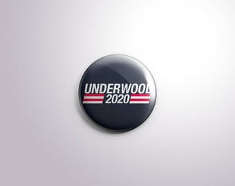 UNDERWOOD 2020 Tv House of Cards Presidential Elections - pins / buttons / magnets - CLAIRE / FRANK