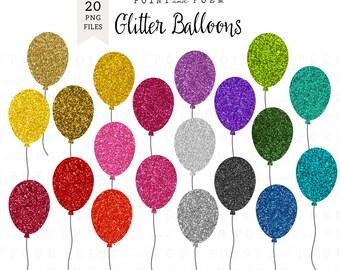 "Balloons Clip Art ""GLITTER BALLONS"" - Commercial Use"