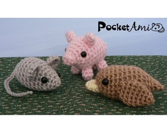 PDF PocketAmi Set 1 - Mouse, Pig, Bird amigurumi CROCHET PATTERNS