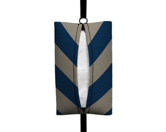 Auto Sneeze - Chevron - Visor Tissue Case/Cozy - Car Accessory Automobile Navy Blue and light Taupe zigzag Zig Zag