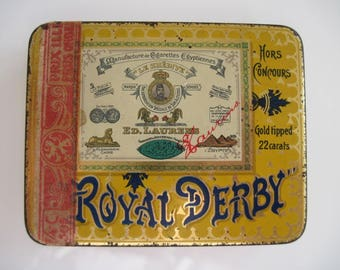 Royal Derby Gold Tipped Egyptian Cigarette Tin (20/empty) - by Ed Laurens c.1930