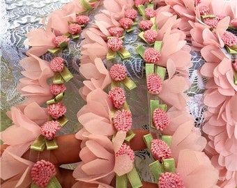 Pink Flower Trim Soft Chiffon Lace for Tutu Dress, Cakes, Headbands, Lace Curtains