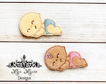 Boy and Girl Baby Feltie set planner ITH Embroidery design file