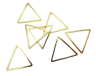 Small Gold Plated Triangle Shape Wire Charms (12x) (K207-C)