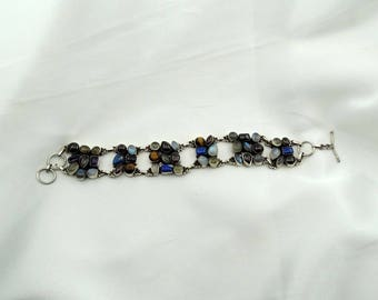 Wont You Take Me To FUNKY TOWN!!!! Vintage Avant Garde Multi-Gem Sterling Silver Link Bracelet  #FUNKY-LB1