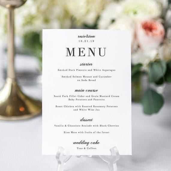 Elegant Menu Card, Wedding Menu Printable Template, elegant and classic wedding 'Rosie'. Edit in Word or Pages