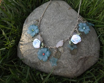 Blue Flower Charm Style Necklace