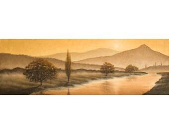 Sunrise Landscape 4. Oil painting of a misty morning river