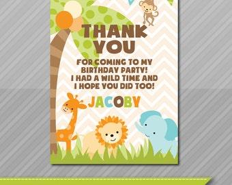 Jungle Theme Thank You Card, Matching Jungle Invitations, Baby Invitations