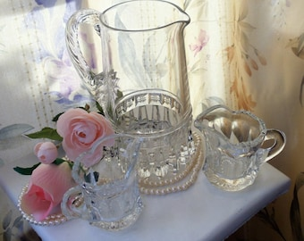Vintage Clear Glass Small Pitcher Set, Small Glass Pitcher & Two Small Matching Cups, Decorative/Serving Heavy Glass Set, Barware Set,1980s'