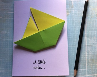 Origami greeting card - green and yellow sailing boat 'a little note'