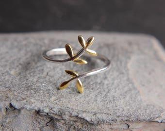 Laurel Ring made of 925 sterling silver leaves-bicolor size adjustable-