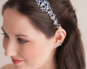 Reserved for Natasha - Bridal Headband - Bridal Headpiece - Something Blue - Blue Headpiece - Wedding Headpiece - Wedding Headband - SOPHIA