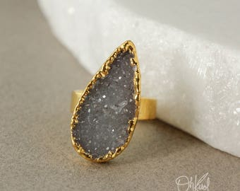 Gold Charcoal Grey Druzy Teardrop Ring - Multi Colour Druzy - Choose Your Ring, Last Ones Left