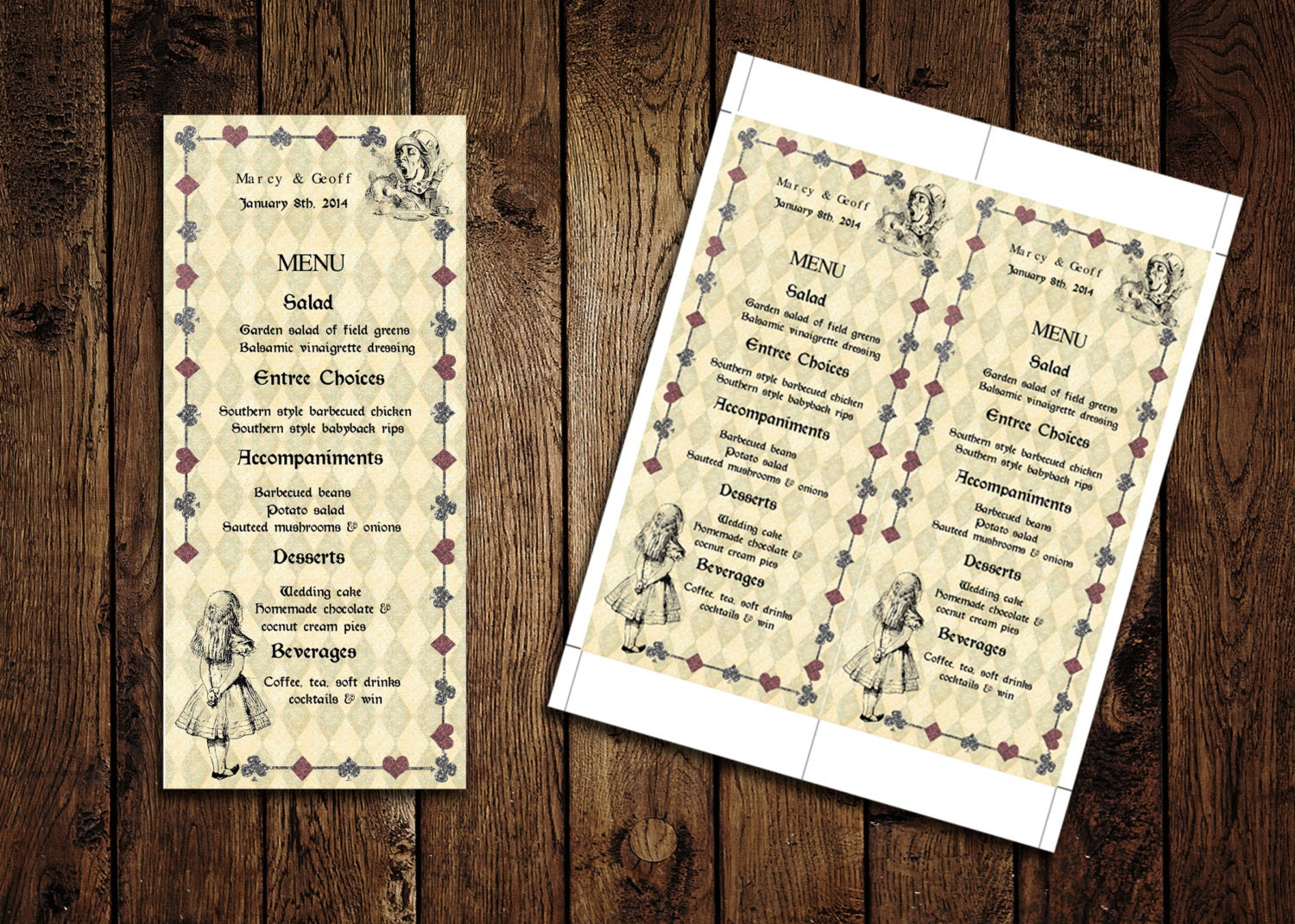 Printable Menu Card Template Alice in Wonderland Wedding