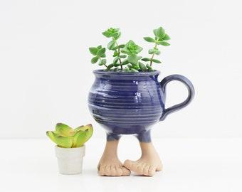Vintage 1984 Muddy Waters Feet Mug / Vintage Stoneware Mug / Muddy Waters Bare Feet Coffee Mug / Kitschy Vintage Mug