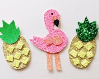 Glitter flamingo clip OR headband