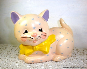 Vintage Piggy Bank, Ceramic, Kitten, Cat, Child's Coin Saver, Money Container, Storage, Purple Ears, Yellow Bow, Hearts, Enesco  (826-15)