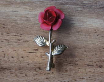 Vintage jewelry BROOCH Pin Red Rose Flower Collectable Lenght is-4  Wide is-2  gold E-003