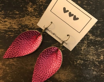 Metallic Pink Foiled Leaf Drop Dangle Earrings Faux Leather Boho Boutique Jewelry