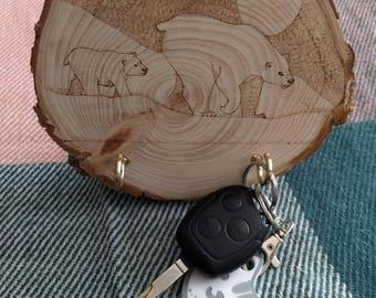 Pyrography Polar Bear Mother and Cub Key Holder