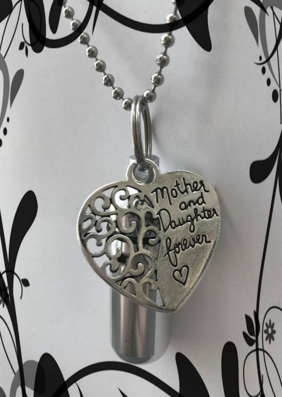 """Personal Cremation Urn """"Mother and Daughter Forever""""  With Velvet Pouch, 24"""" Ball Chain Necklace and Fill Kit"""
