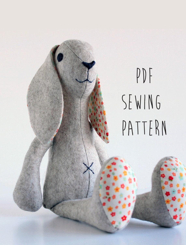 Felt animal patterns for instant download bunny rabbit felt pdf stuffed animal patterns jeuxipadfo Image collections