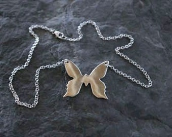 Fine Silver Butterfly Necklace ( Fine silver clay jewellery Silver jewellery PMC jewellery Butterfly jewelry recycled Silver butterfly )