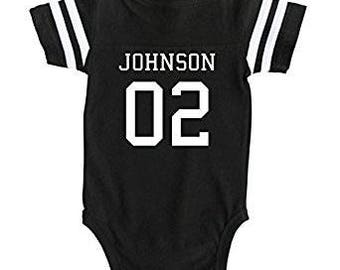 Custom Football Sport Jersey Baby Bodysuit Personalized with Name and Number-Back Only