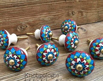 "Sale SET OF 8 - 1.25"" Southwest Inspired Red Green Blue White and Black Geometric Ceramic Knob Drawer Pull - Tuscan Cabinet Kitchen Decor"