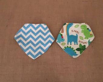 Reversible Baby Bandana Bib- drool bib-scarf bib-boy bib-girl bib-Dinosaurs and blue chevron -baby gift-baby fashion, shower gift, bib