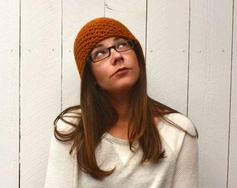 Mustard Beanie Hat Hand Knit Crochet Beanie Hat Waffle Texture Wool Blend Winter Hat