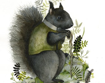 Sir Walter DeGray - Black Squirrel print - Illustrious Forest Collection